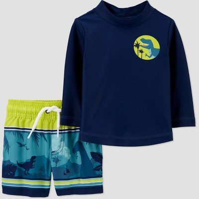 Baby Boys' 2pc Dino Long Sleeve Rash Guard Set - Just One You® made by carter's Navy 3M