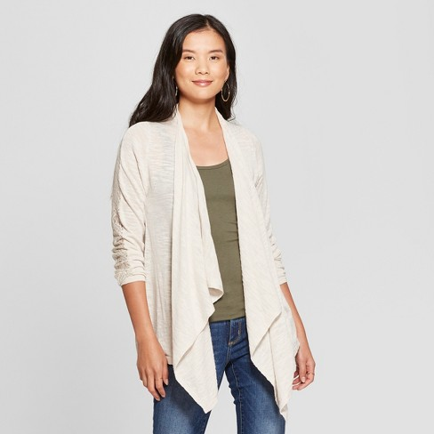 Women's Long Sleeve Lace Cardigan - Knox Rose™ Ivory L - image 1 of 2