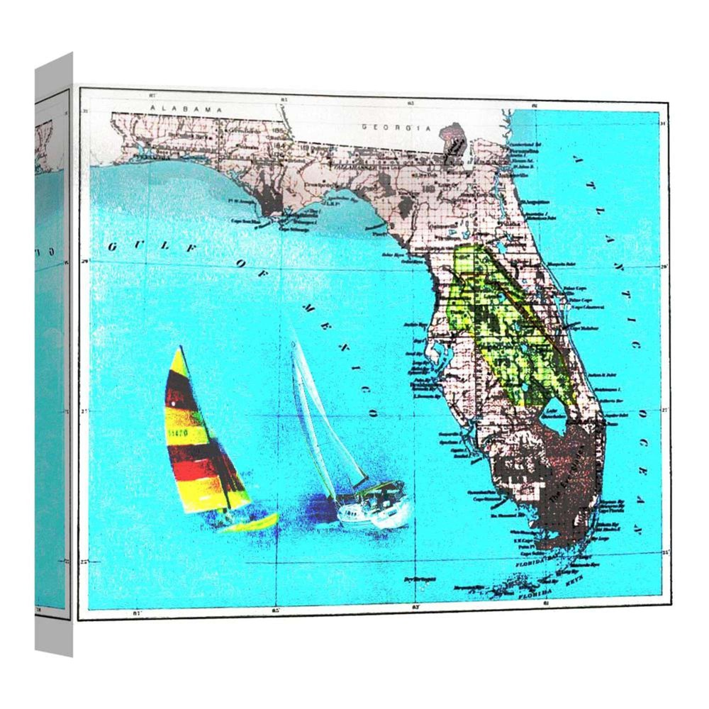 16 34 X 16 34 Florida Map Decorative Wall Art Ptm Images