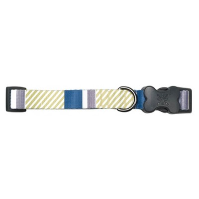 Bow & Arrow Stripe Dog Collar - Indigo - L