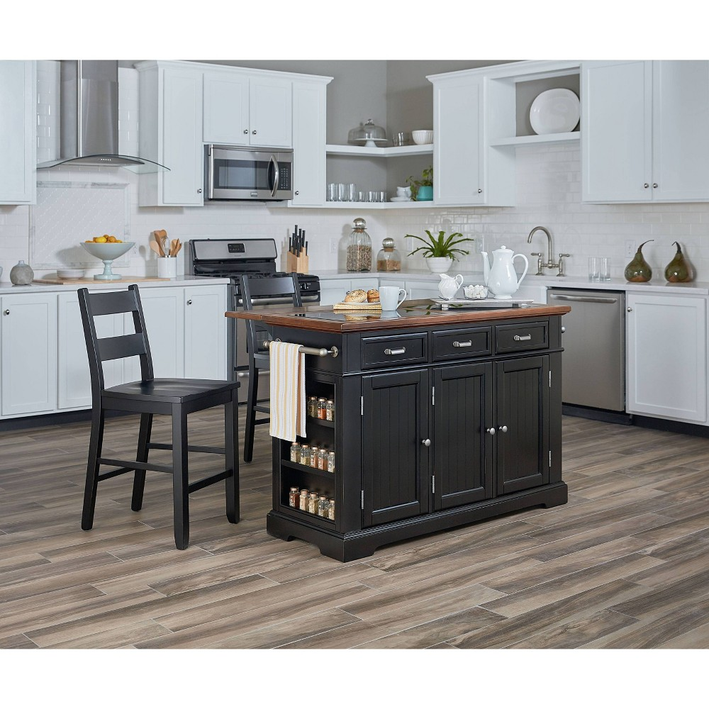 Farmhouse Basics Kitchen Island With Granite Top Black - Osp Home Furnishings