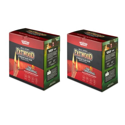 Betterwood 5lb Fatwood Natural Pine Firestarter (2 Pack) for Campfire, BBQ, or Pellet Stove; Non-Toxic and Water Resistant