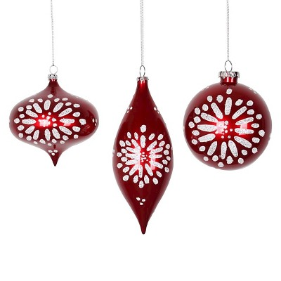 3ct Red with White Snowflake Design Assorted Shapes Christmas Ornament Set