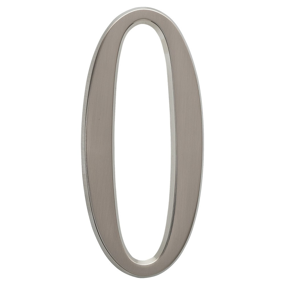 "Image of ""4.75"""" Metal Number 0 - Brushed Nickel - Whitehall Products, Silver"""