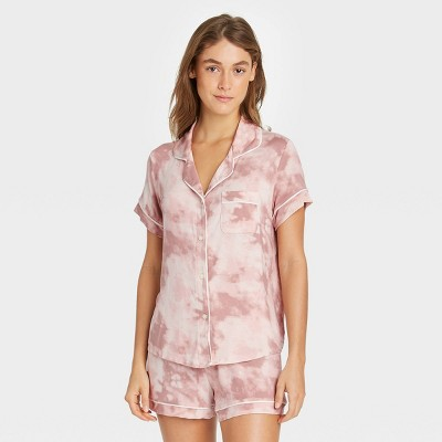 Women's Tie-Dye Beautifully Soft Short Sleeve Notch Collar Top and Shorts Pajama Set - Stars Above™