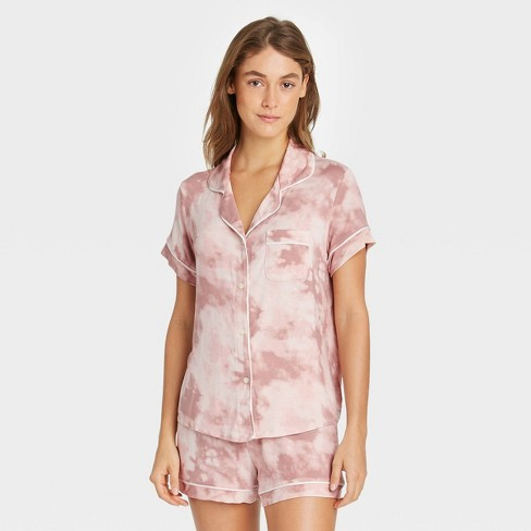 Women's Tie-Dye Beautifully Soft Short Sleeve Notch Collar Top and Shorts Pajama Set - Stars Above™ - image 1 of 2