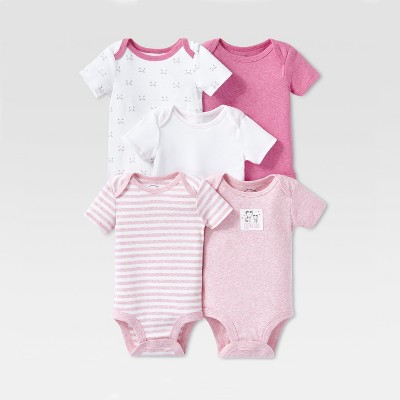 Lamaze Baby Girls' Organic Cotton 5pc Shorts sleeve Bodysuit Set - Pink Newborn