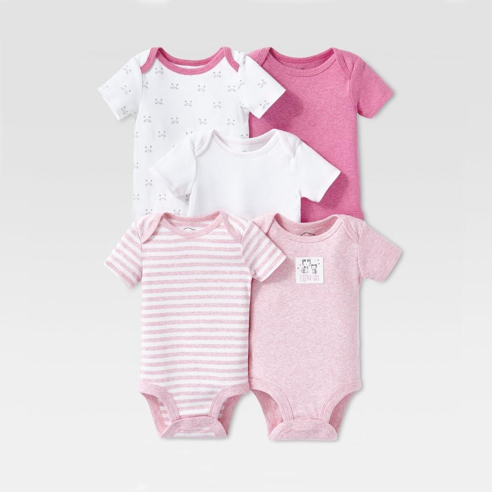 Lamaze Baby Girls Organic Cotton 5pc Shorts Sleeve Bodysuit Set Pink 12m