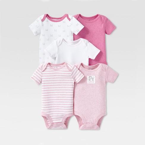 Lamaze Baby Girls' Organic Cotton 5pc Shorts sleeve Bodysuit Set - Pink - image 1 of 2