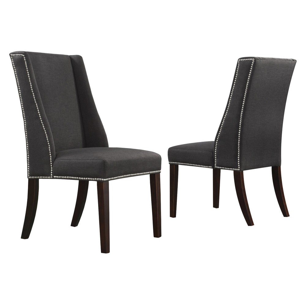 Harlow Wingback Dining Chair with Nailheads Wood/Dark Gray (Set of 2) - Inspire Q