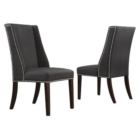 Admirable Set Of 2 Harlow Wingback Dining Chair With Nailheads Wood Dark Gray Inspire Q Onthecornerstone Fun Painted Chair Ideas Images Onthecornerstoneorg