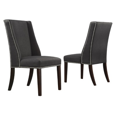 Charmant Harlow Wingback Dining Chair With Nailheads Wood/Dark Gray (Set Of 2)    Inspire Q