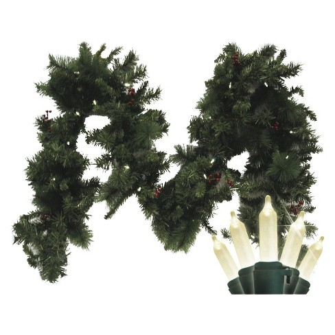 Pre-Lit Battery Operated LED Fir Garland - White Lights (9') - image 1 of 1