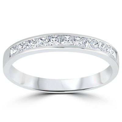 Pompeii3 3/8ct Princess Cut Diamond Wedding Anniversary Ring 14K White Gold