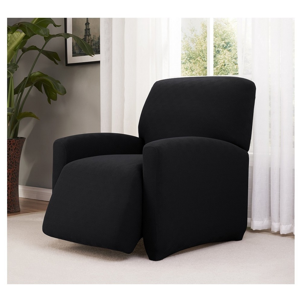 Image of Black Solid Recliner Slipcover