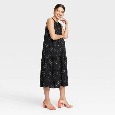The Nines by HATCH™ Sleeveless Henley Placket Tiered Modal Maternity Dress