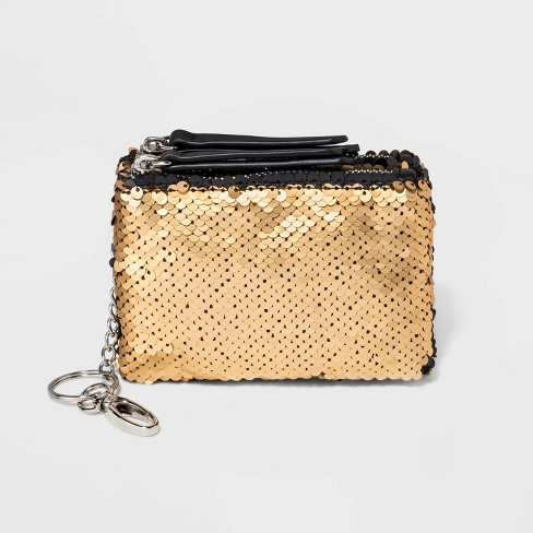 Reversible Sequin Zip Closure Card Case - Wild Fable™ Gold - image 1 of 2
