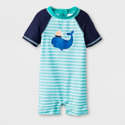 Baby Boys' Whale One Piece Swimsuit - Cat & Jack™ Aqua 3-6M