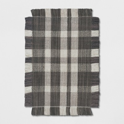 2'X3' Plaid Woven Accent Rugs Gray - Threshold™