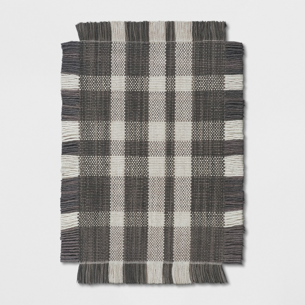 2'X3' Plaid Woven Accent Rugs Gray - Threshold