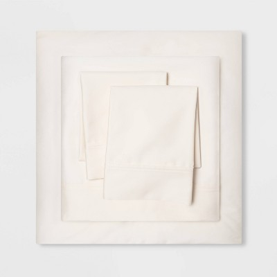 Queen 500 Thread Count Tri-Ease Solid Sheet Set Ivory - Threshold™