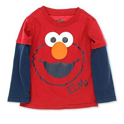 Sesame Street Boy's Faux Layered Long Sleeve Crewneck Graphic Tee for Toddlers