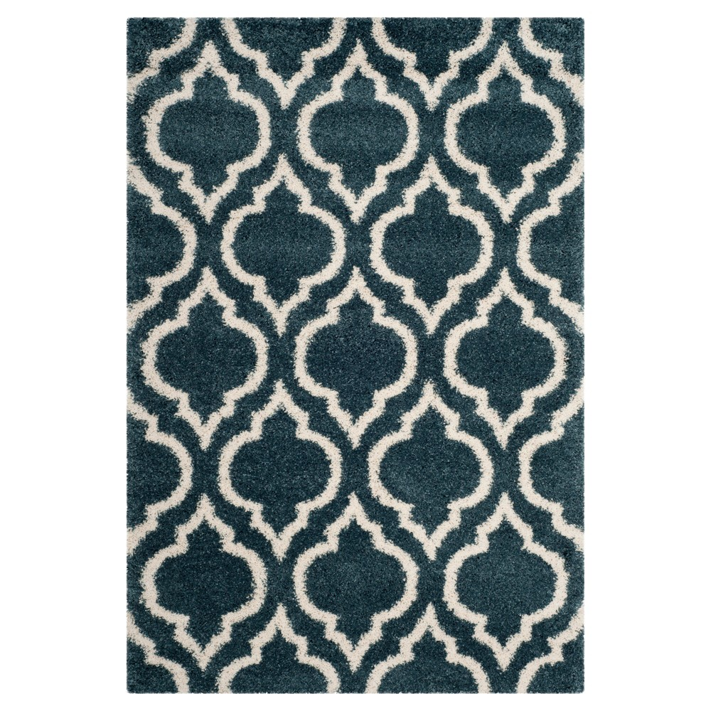 Slate Blue/Ivory Geometric Shag and Flokati Loomed Area Rug 5'1