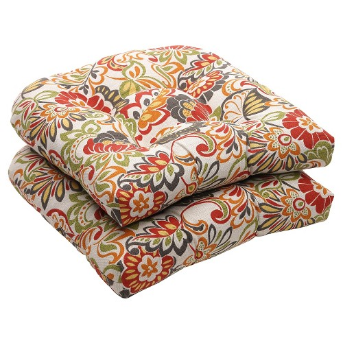 Outdoor 2-Piece Wicker Chair Cushion Set - Green/Off-White/Red Floral