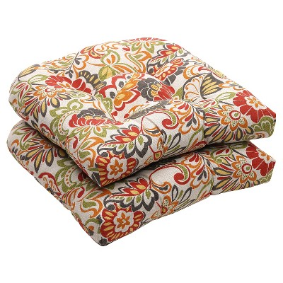 Charmant Outdoor 2 Piece Wicker Chair Cushion Set   Green/Off White/Red Floral :  Target