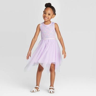 Toddler Girls' Sequin Fairy Hem Dress - Cat & Jack™ Purple 4T