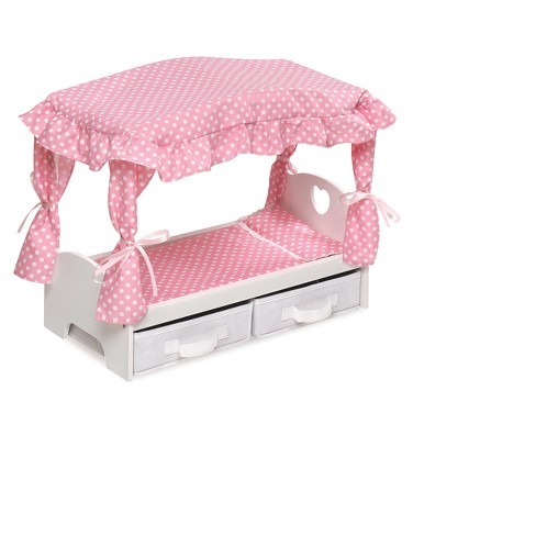 Badger Basket Canopy Doll Bed with Two Storage Baskets - Pink/Polka Dot - image 1 of 4