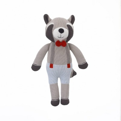 NoJo Cuddle Me Gray/Blue Raccoon Knitted Plush Toy - Hudson