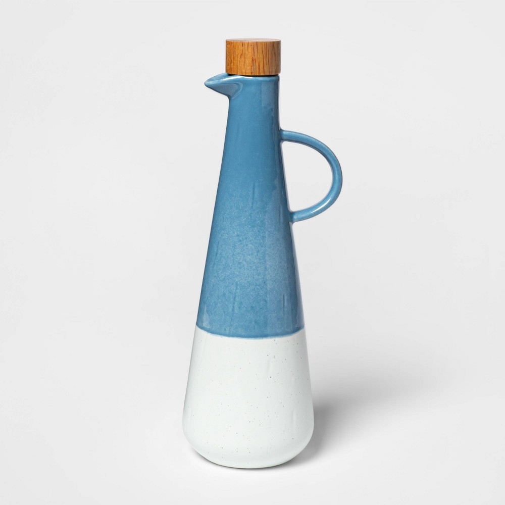 Image of Cravings by Chrissy Teigen 13oz Ceramic Olive Oil Dispenser with Wood Lid White/Blue