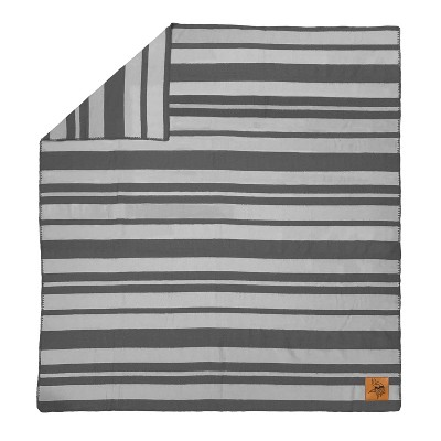 NFL Minnesota Vikings Acrylic Stripe Blanket with Faux Leather Logo Patch