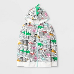 Girls' Long Sleeve Adaptive Printed Dino Hoodie - Cat & Jack™ Cream