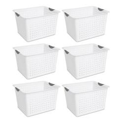 Sterilite 16288006 Deep Ultra Plastic Indoor Storage Organizer Baskets (6 Pack)