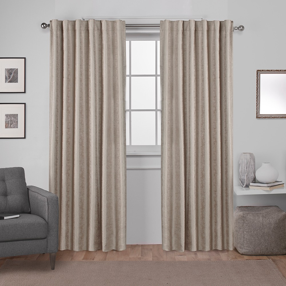 Zeus Solid Textured Jacquard with Blackout Liner Hidden Tab Window Curtain Panel Pair Natural 52x96 - Exclusive Home
