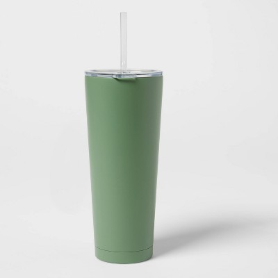 25oz Stainless Steel Vacuum Tumbler with Straw & Slide Lid Solid Matte Crisp Green - Room Essentials™
