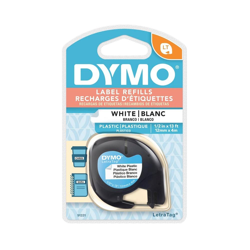 "Image of ""DYMO LetraTag Plastic Label Tape Cassette Black on White .5"""" x 13'"""