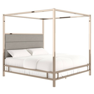Manhattan Champagne Gold Canopy Bed with Horizontal Panel Headboard - Inspire Q