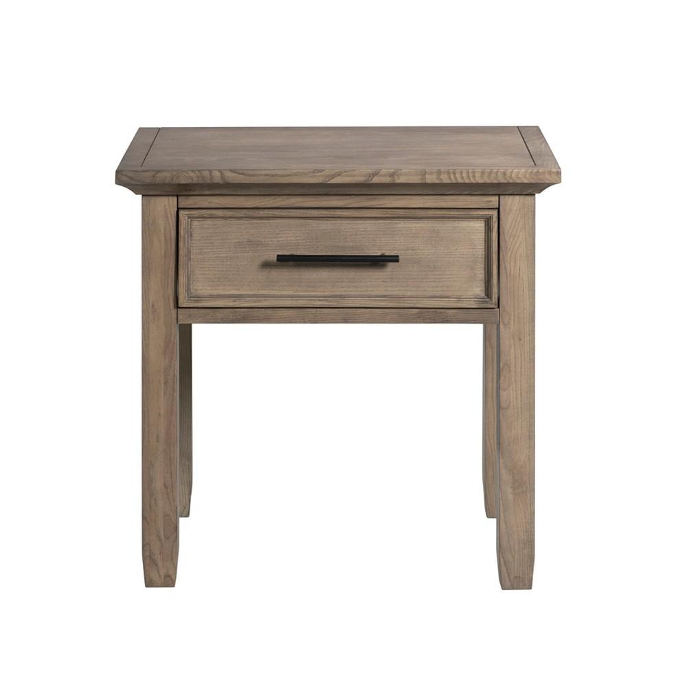 Woodland 1 Drawer End Table/Nightstand Woodstone Brown - John Boyd Designs