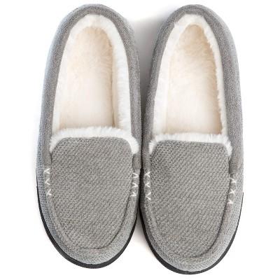 RockDove Women's Chenille Faux Fur Lined Moc Slipper