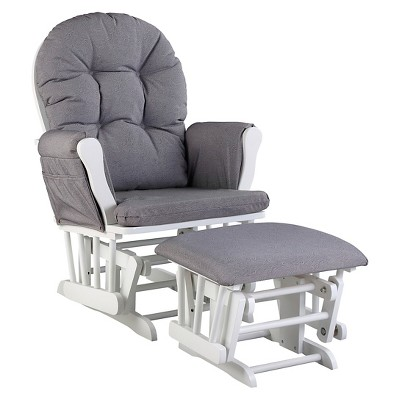 Stork Craft Hoop White Glider and Ottoman - Slate Gray Swirl