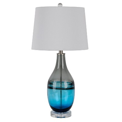 Tapered Art Glass Table Lamp with Crystal Base Blue - Decor Therapy