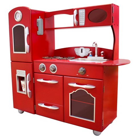 b37e50b1a95 Teamson Kids Retro Wooden Play Kitchen - Red   Target