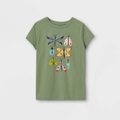 Girls' Butterflies Graphic Short Sleeve T-Shirt - Cat & Jack™ Army Green