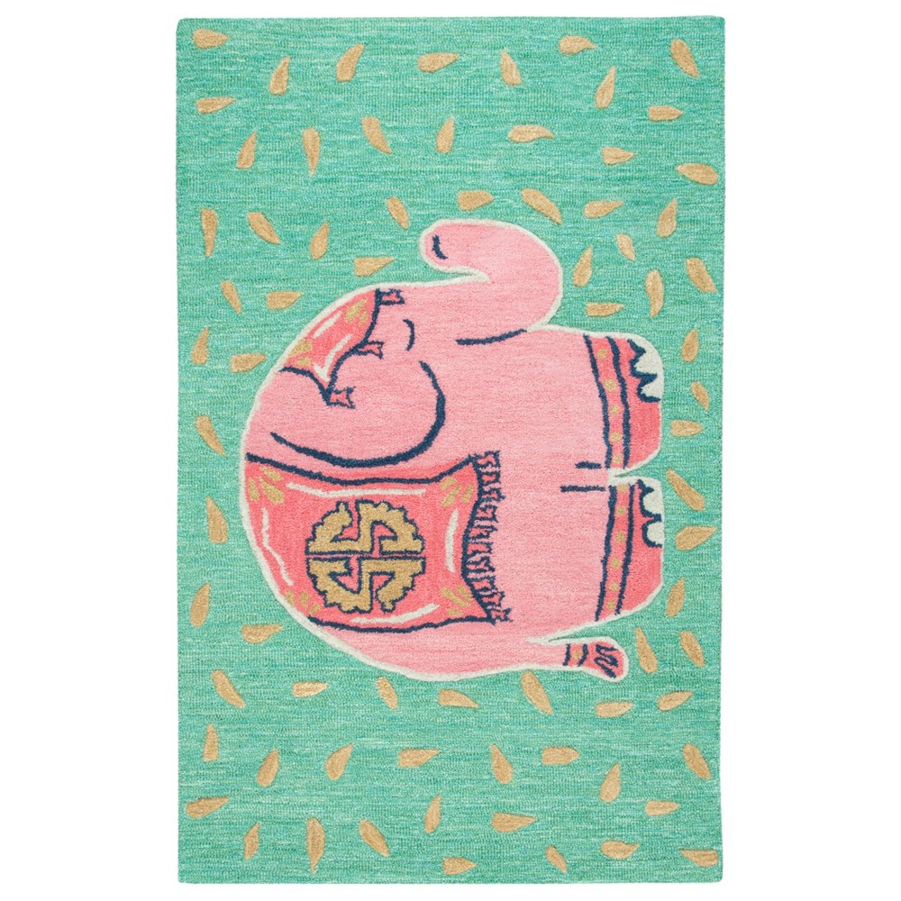 "Image of ""2'6""""X4' Tufted Elephants Accent Rug Teal - Rizzy Home"""
