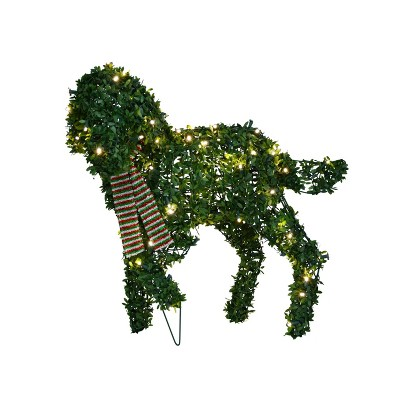 """Productworks 20"""" Topiary Standing Dog 50 Lights Knock Down"""