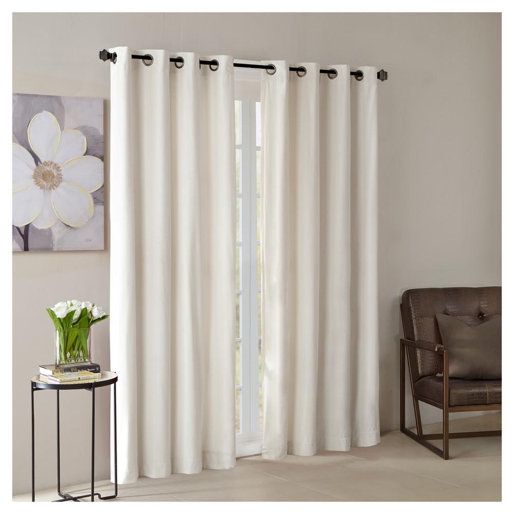 Vienna Solid Velvet Window Curtain Panel Ivory (50