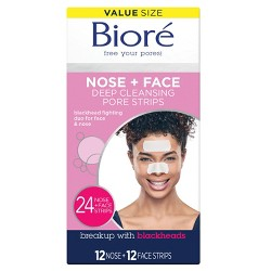 Biore Nose + Face Deep Cleansing Pore Strips - 24ct